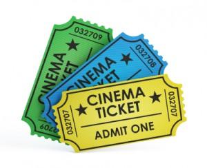Cinema tickets on white background