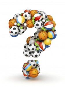 Question Mark Made Up of Different Types of Balls Clip Art
