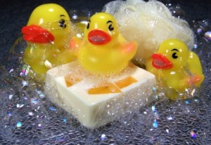 Three Rubber Ducks with Soap