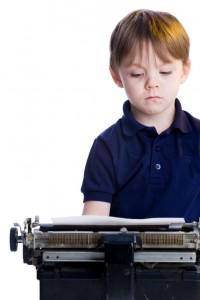 Kid with typewriter