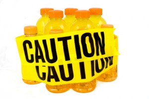 Sports drinks wrapped in caution tape
