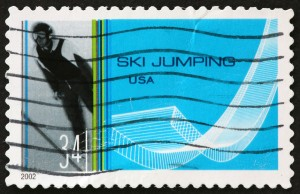 ski jumper on stamp